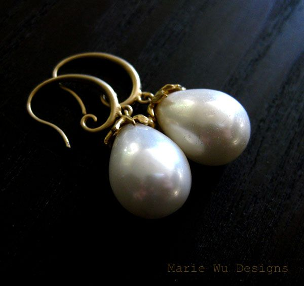South Seas Shell Pearl-16k Gold Plate Earrings