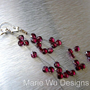 Rhodolite Garnet Waterfall-Illusion-Long-Sterling Silver Cascading Earrings