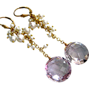 16mm Pink Amethyst Cushions-Lustrous Pearl Cascade-14k Gold Fill Earrings