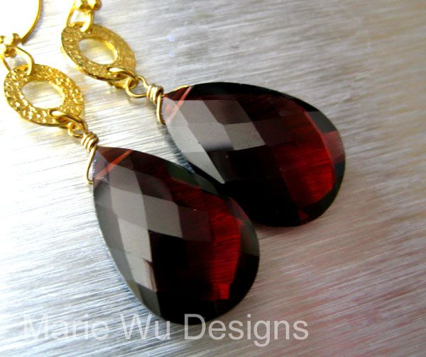 Very Rare-20ct Pyrope Garnet-18k Solid Gold-Collectible Gemstone Dangle Earrings