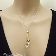 14k Solid Gold-Pools of Light-Crystal Quartz Teardrops-Lariat Style Necklace