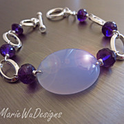 Blue Chalcedony-Purple Amethyst-Sterling Silver Chunky Bracelet