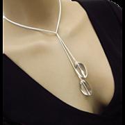 3 way-Pristine Crystal Quartz-Sterling Silver Lariat Pendant Necklace
