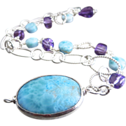 2 Strand Larimar-Amethyst-Sterling Silver Bracelet with Charm