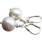 Stardust-11mm Luminous Fresh Water Pearl-Sterling Silver Contemporary Leverback Earrings