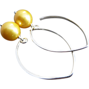 11mm Natural Golden Fresh Water Pearls-Contemporary Sterling Silver-Gold Fill Hoop Dangle Earrings