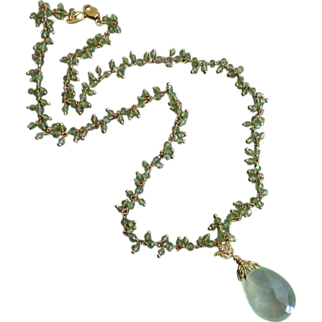 Large Prehnite-Peridot Fringe-August Birthstone-Pendant CZ Charm Gold Fill Necklace