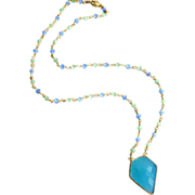 Geometric Aqua-Blue-Green Chalcedony Pendant Gold Plated Necklace
