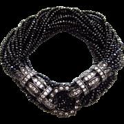 28 Strand Black Spinel-Rhodium Sterling Silver-CZ Multi Strand Ornate Gemstone Wrap Bracelet