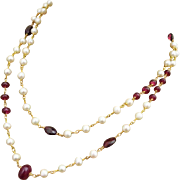 "38"" Ruby Garnet Fresh Water Pearls-Gold Fill Long Layering Necklace"