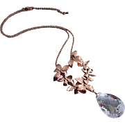 Petals-Large Natural Crystal Quartz-Rose Gold Plate-Nature Inspired Pendant-Adjustable Necklace