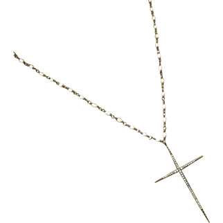 """24"""" Pave Diamond Cross Pendant-Natural FW Seed Pearl-Oxidized Sterling Silver Rhodium Layering Necklace"""