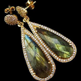 Fire Labradorite--Pave CZ 18k Gold Vermeil Dangle Post Earrings