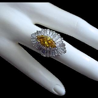 Convertible-7.17ctw-Heavy Platinum-2.17ct Yellow Diamond-Baguette Coctail Ring-Pendant-US Size 7