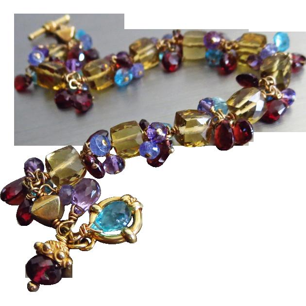 Honey Quartz Cubes~Tanzanite~Orissa Garnet~Apatite~Amethyst Charms~24k Gold Vermeil Bracelet~