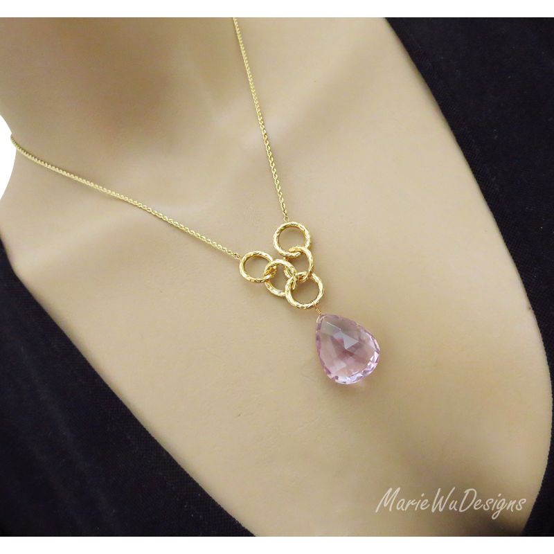 39ct Natural Pink Amethyst-Unheated Untreated-10k Gold Hoop Pendant Necklace