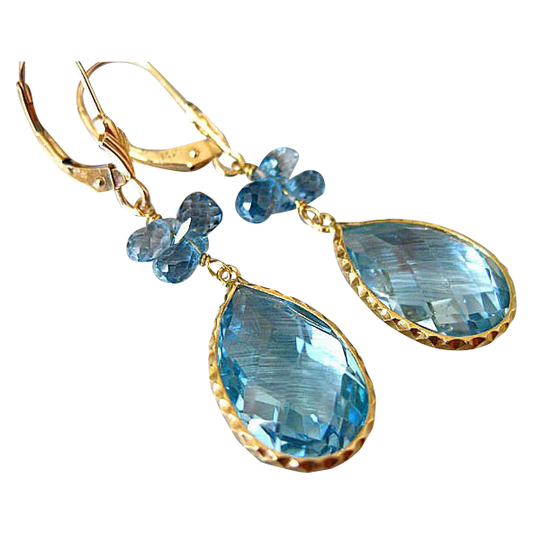 London Blue-Sky Blue Genuine Topaz-14k Solid Gold Dangle Earrings