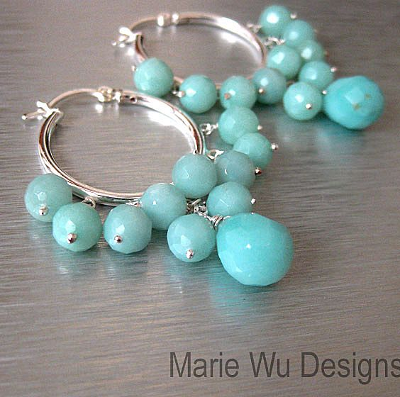 Seafoam Amazonite-Sterling Silver Hoop Earrings