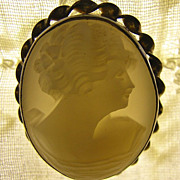 Hand Carved Shell Cameo, Sterling Brooch W/Gold Overlay