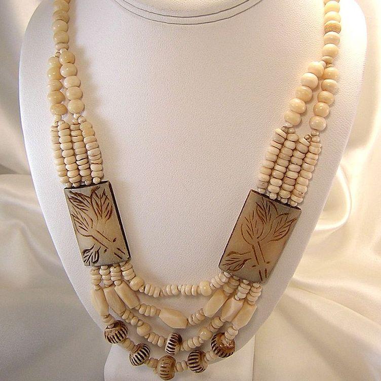 Vintage African Tribal Bone Necklace