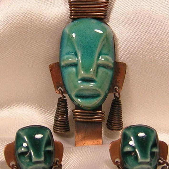 Copper & Ceramic Tribal Mask Brooch & Earrings