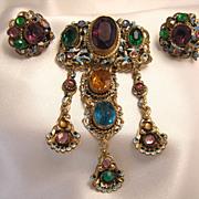 Gorgeous Enameled Czech Brooch & Earrings
