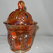 Vintage Imperial Beaded Jewel Carnival Glass Sugar Bowl