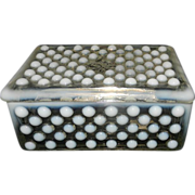 Vintage Anchor Hocking Moonstone Clear Opalescent Cigarette Box
