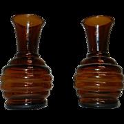 Vintage Amber Glass Beehive Vases
