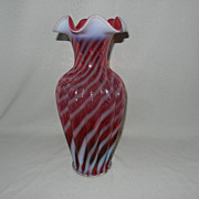 Vintage 1980's Fenton Cranberry Opalescent Swirl Vase