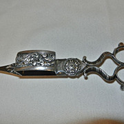 Antique Victorian English Silver Plated Candlewick Snuffer and Trimmer