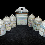 Vintage White Block Germany Pearl Lusterware Canister Set