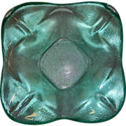 Vintage Mid-Century Art Glass Aqua Blue Glass Ashtray