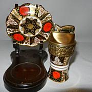 Vintage Abbeydale Chrysanthemum Bone China Evans Table Lighter and Underplate