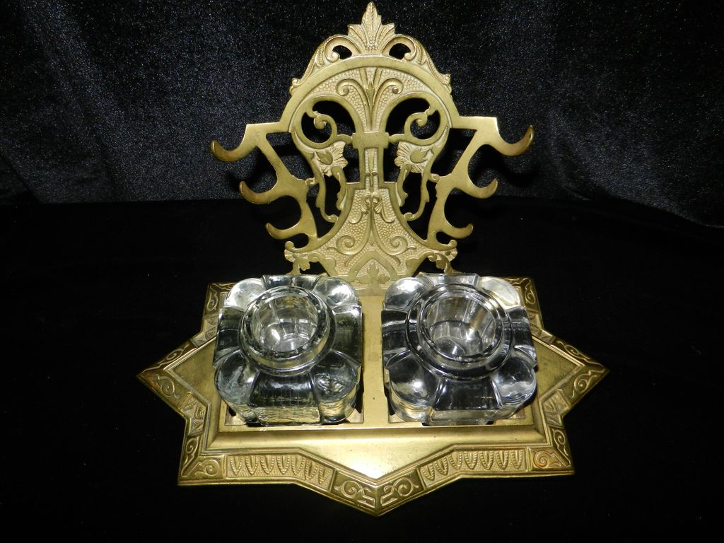 Solid Brass Double Inkwell and Pen Rack-  1870's