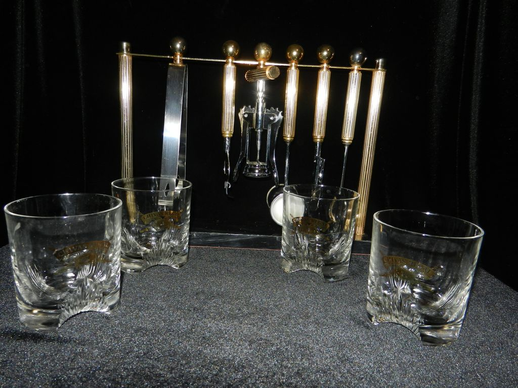 Vintage Cut Chivas Regal Old Fashion Glasses with Bar Set