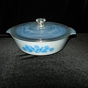 Vinitage Rare Fire King 2 Qt Blue Cornflower Casserole with Blue Inside
