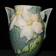 Vintage 1940's Roseville Pottery Clematis Green Vase 102-6