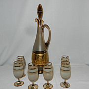 Vintage Bohemian Crystal Decanter and Cordials-Czechoslovakia-24 kt Gold Trim