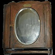 Vintage Oak Medicine Cabinet with Towel Holder