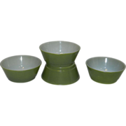 Vintage Fire King Avocado Green Cereal Bowls
