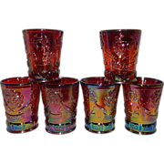 Vintage HOACGA Whiskey Shot Glasses with Good Luck Pattern- 1976