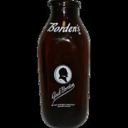 Vintage Gail Borden Amber 1 Quart Square Milk Bottle.