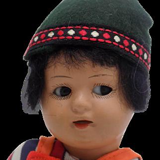 Antique German Schoenau & Hoffmeister S&H Hanna Doll Brown Black Googly Eyes
