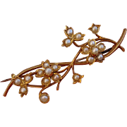 Valentines Special ! Exquisite 18K Victorian Floral Seed Pearls Brooch Pin - Antique, circa 1880