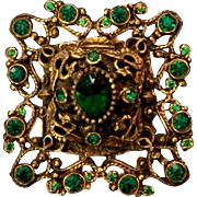 """Exquisite Large 2.35"""" Austro Hungarian Green Pastes Brooch - late 1800's Antique"""