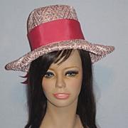 Vintage 1960s Reggi of Wilshire Pink Woven Straw Hat