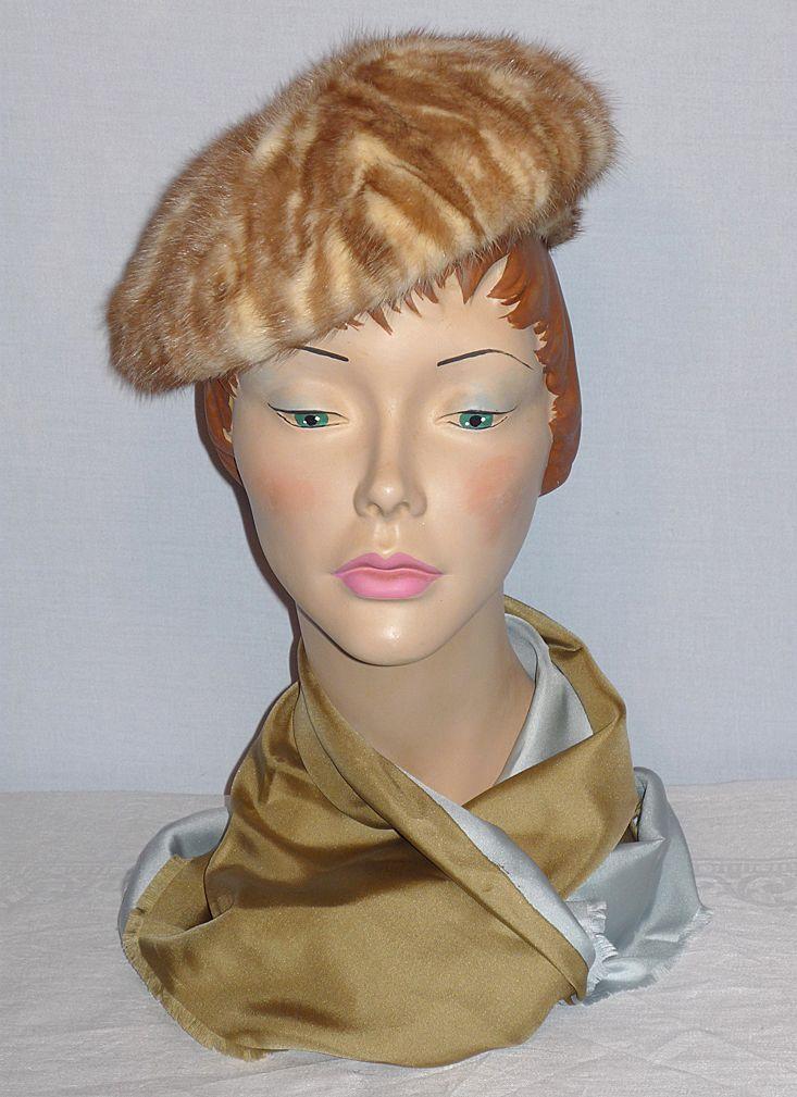 Vintage 1960s Vera Whistler Caramel and Cream Mink Hat
