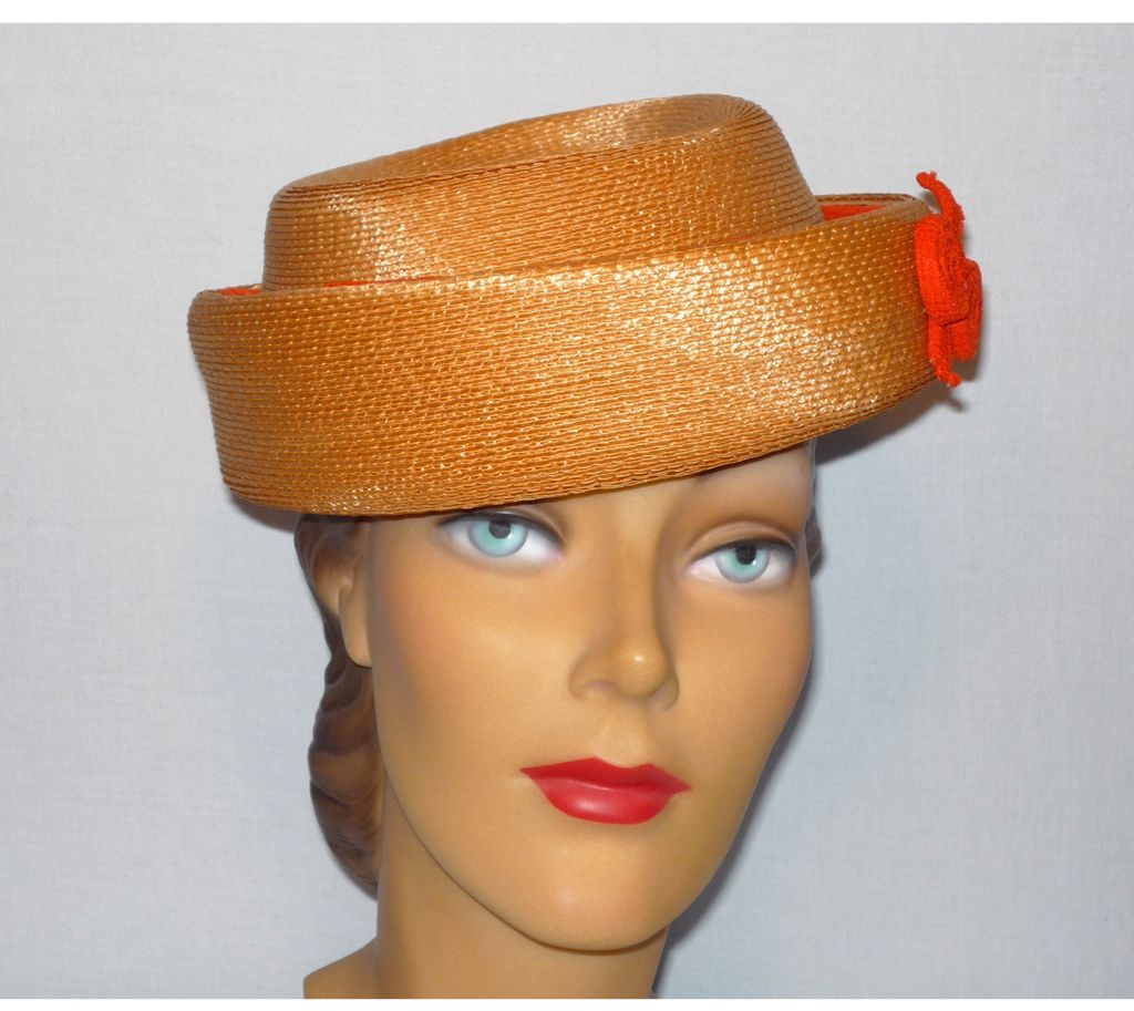 Vintage 1960s Lilly Dache Debs Woven Straw Hat