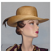 Vintage 1980s Adolfo II Straw Hat with Pheasant Feathers
